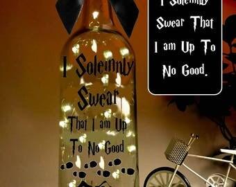 Harry Potter Light Up Bottle, I Solemnly Swear That I am Up To No Good, light up wine bottle, Light decor, Quote Bottle, Christmas Gift