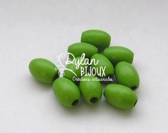 10 oval wooden beads / olive ' green ' 10 x 16 mm