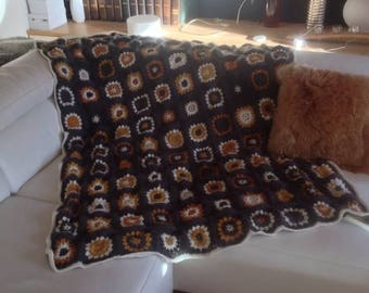 Crochet granny square gray and mustard Mohair PLAID