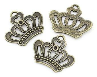 6 Crown openwork bronze metal charms/pendants