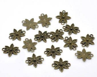 (X 6) bronze metal flower-shaped connector