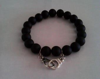 Mens bracelet, Black Onyx matte, handcuffs