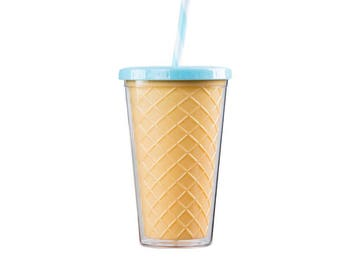 Ice Cream Cone Flat Lid Tumbler - Blue