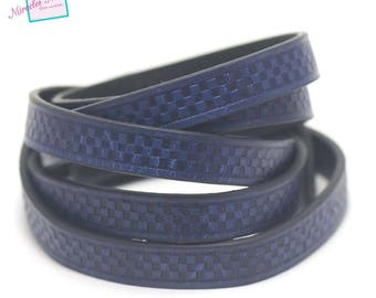 "1 m cord strap split leather 10 x 2 mm ""chessboard"", royal blue"