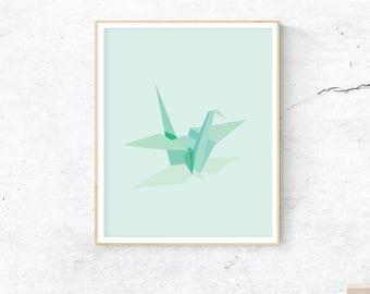 Origami Paper Crane Instant Download Printable Graphic Design Art