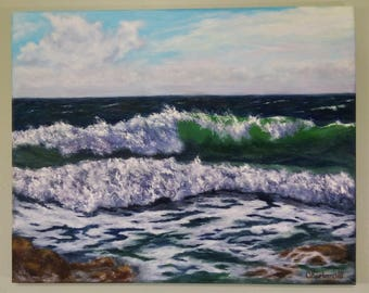Seascape oil painting Wave oil painting Wall art canvas Ocean painting Oil beach painting Ocean art Green wave Canvas painting Beach Stones