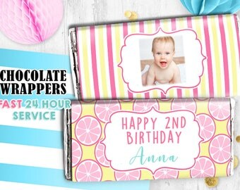 Pink Lemonade Chocolate wrappers Lemon wrappers Hershey wrappers Printable digital wrappers