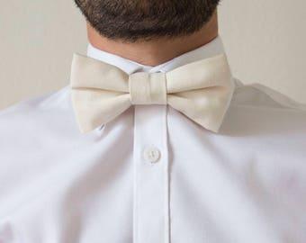 Ecru cotton adjustable adult bowtie / bow tie