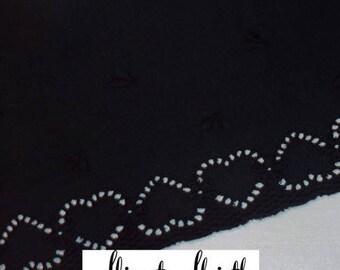 cotton trim embroidery black hearts