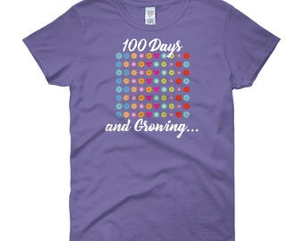 100 Days and Growing Bright Flowers 100th Day of School Ladies t-shirt students teachers gift school milestone celebration education day 100