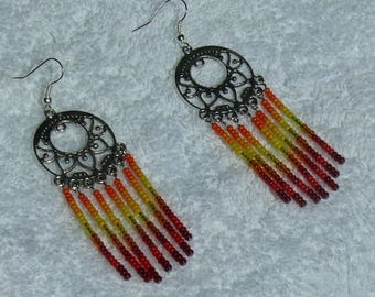 single earring with colorful seed beads and