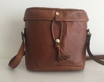 Brown binocular-case style shoulder bag