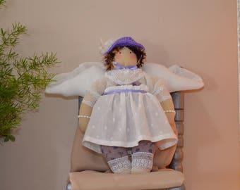 Angel tilda Parma violet and white inspiration standing or hanging, Christmas Decor