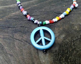 peace sign pendant, hippie necklace, 60's necklace,