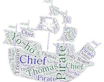 Pirate ship/Wizard hat Word Art