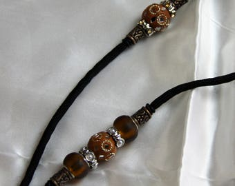 Custom made Dog Show Lead with Antique Brass/Brown Beads