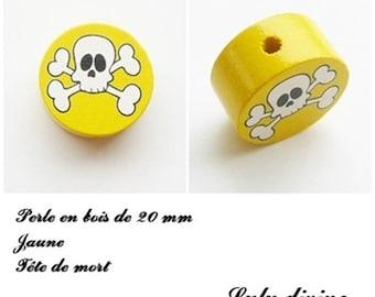 Wooden bead of 20 mm, flat, skull bead: yellow