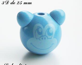 25 mm wooden bead, Pearl 3D monkey: Blue