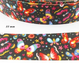 Multicolored Butterfly 22 mm black grosgrain Ribbon sold by 50 cm