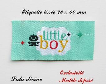 Woven label - little boy - 28 x 60 mm, Green Black Robot