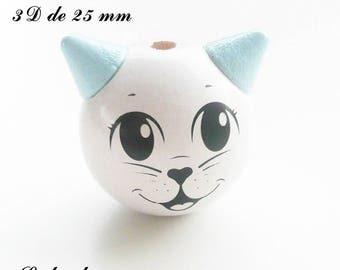 25 mm wooden bead, Pearl 3D Cat Head: white / light blue