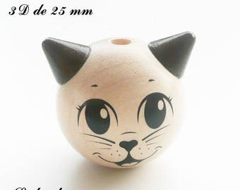 25 mm wooden bead, Pearl 3D cat: natural