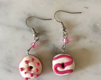Earrings made with polymer clay donut shape