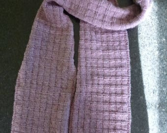 great hot knit scarf handmade pink and Grey Heather