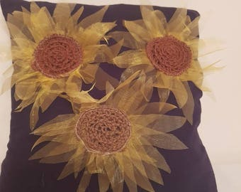 A handmade 42 cm sunflower cushion complete with cushion pad