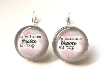 "Earrings original & unique ""I'm a girl on top"" personalized, derision, blue, pink, polka dots, bow, humor"