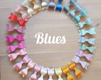 Blue Leatherette Bows