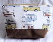 Retro Travel Campers Zipper Pouch | Makeup Bag, Bag, Faux Suede, Vintage, Mobile Homes, Travel, Trailer, Vintage Trailers