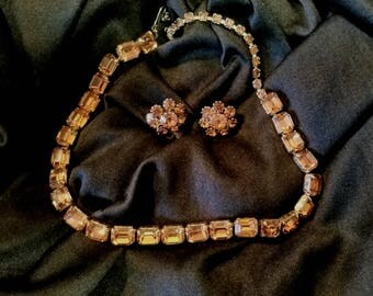 Vintage Marked Weiss Choker and Unmarked Earrings Set
