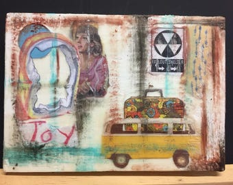 "Have White Bread, Will Travel (with floral luggage) - Original Encaustic Mixed Media Collage - 6.5""x4.5"""