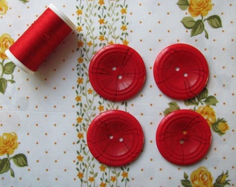 4 large buttons decorative red 38mm