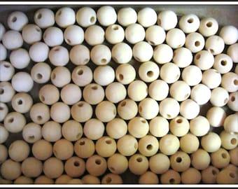 x 50 natural round wood beads