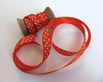 Red Ribbon with white dots 2 meters / 9mm