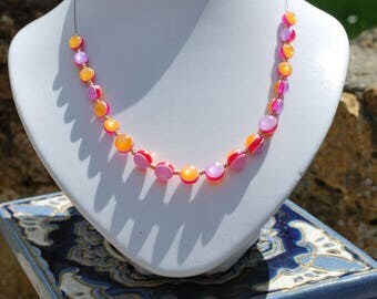 Pink, orange and purple beaded 'Boost' necklace.