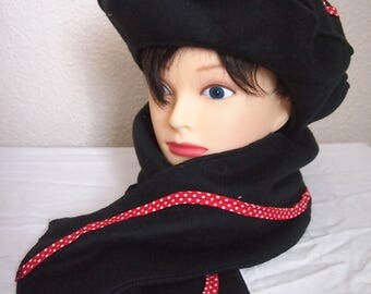Black and Red beret and scarf set
