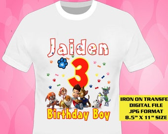 Paw Patrol Iron On Transfer Design , Paw Patrol Boy Birthday Shirt DIY , Digital File Only , JPG , US Paper Size ,  Personalize Name And Age