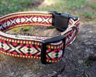Dog collar, dog leash, adjustable dog collar, Aztec dog collar, bohemian dog collar, fancy dog collar, unique dog collar, red dog collar