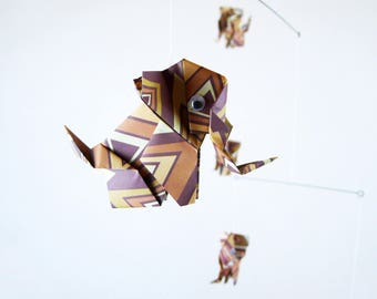 Mobile origami 5 baby elephant Brown vintage patterns for home decor