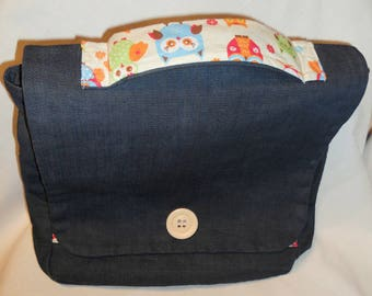 Backpack - blue jeans fabric satchel