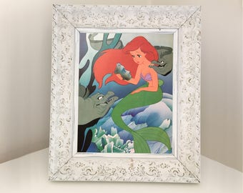 Ariel The Little Mermaid Disney Book Illustration from 1980s. Underwater Picture Set for girl's themed room or nursery. Baby Shower Gift