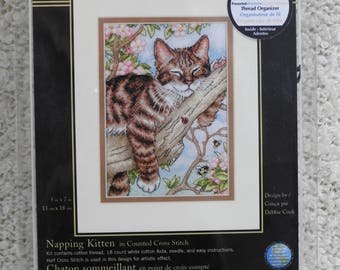 "Dimensions Gold Collection Petites ""Napping Kitten"" #65090 Counted Xstitch Kit"