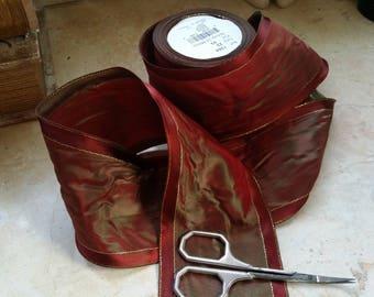"3"" Vintage French Wired Taffeta ribbon trim Iridescent Red Burgundy Green. satin borders fine metallic gold detail Christmas"