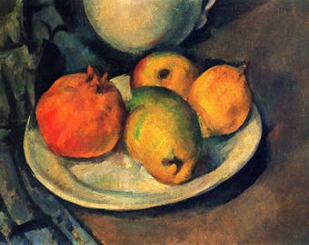 ORIGINAL design, durable and WASHABLE PLACEMAT - Paul Cézanne / still life / pomegranate and pears - classic.