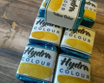 Yellow ocher handmade watercolor