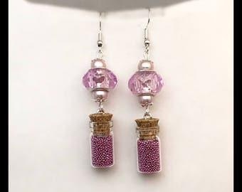 Vial earrings pink