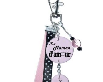 My mom love bag charm - pink